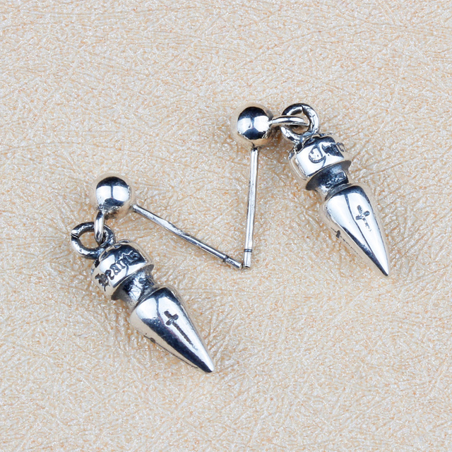 Gothic Punk Style Bullet Spike Nail Drop Earring Men Women 100 Solid Sterling Silver 925