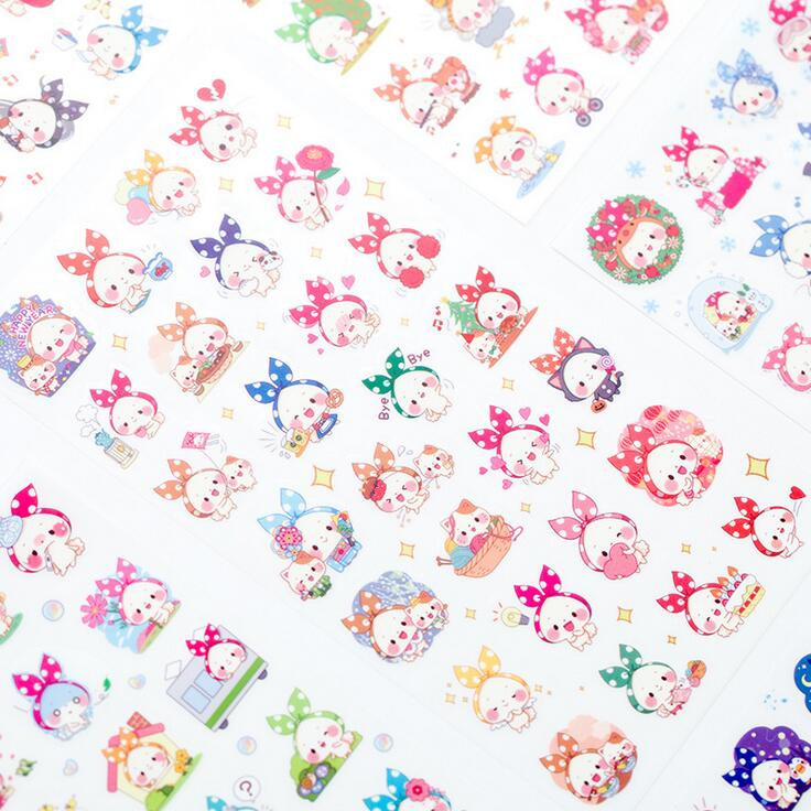 6 Pcs/pack Lovely Scarf Animal Sticker PVC Cartoon Stickers Diary Sticker Scrapbook Decoration PVC Stationery Stickers