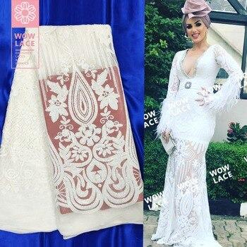 Белые блестки Сетка, фатин, кружева ткань Африка Дубай Леди невесты платья шнуровка Материал уникального дизайна блестками вышитые ткани