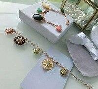High quality brand women's jewellery bracelet 925 silver fashion jewellery charm compass rose gold bracelet