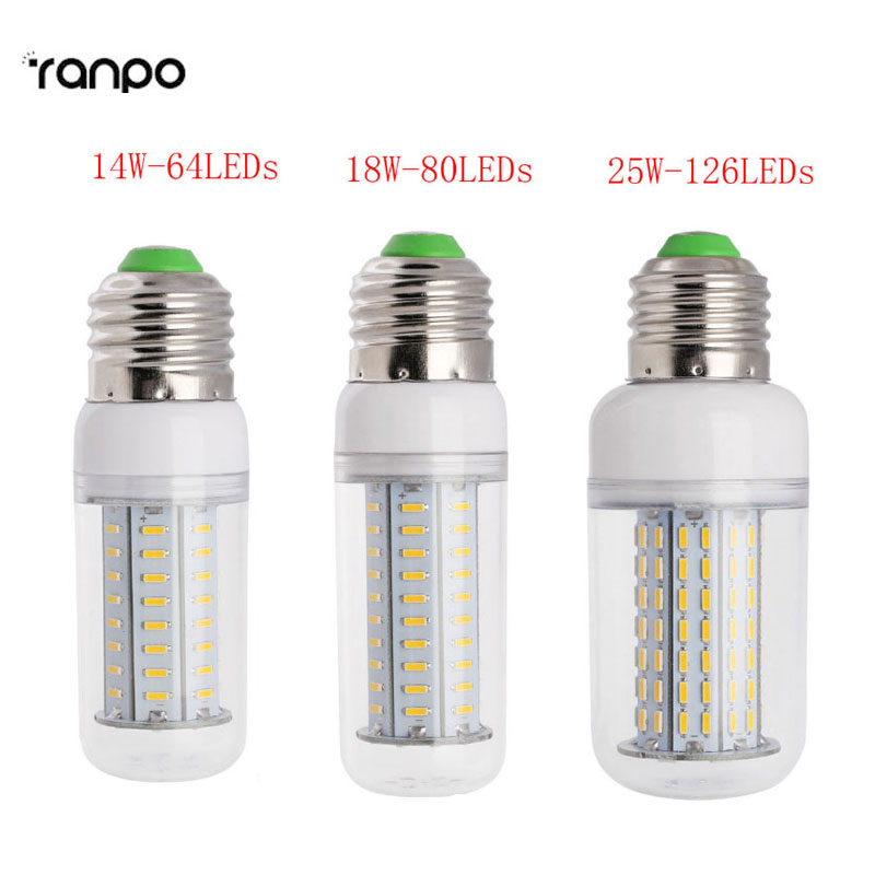 Super Dimmable LED Bulb E27 SMD 4014 LED Lamp 64 80 126Leds AC 110V 220V LED Corn Bulb Light Chandelier(14W 18W 25W)
