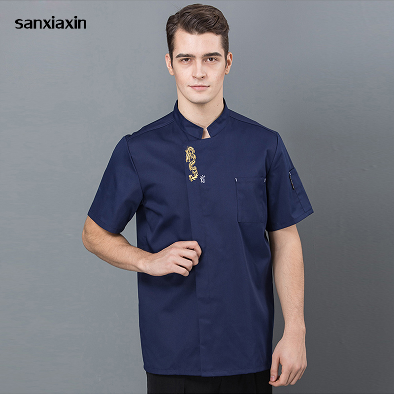 New Blue Black Short Sleeve Master Cook Work Uniforms Restaurant Hotel BBQ Kitchen High Quality Workwear Food Service Chef Tops