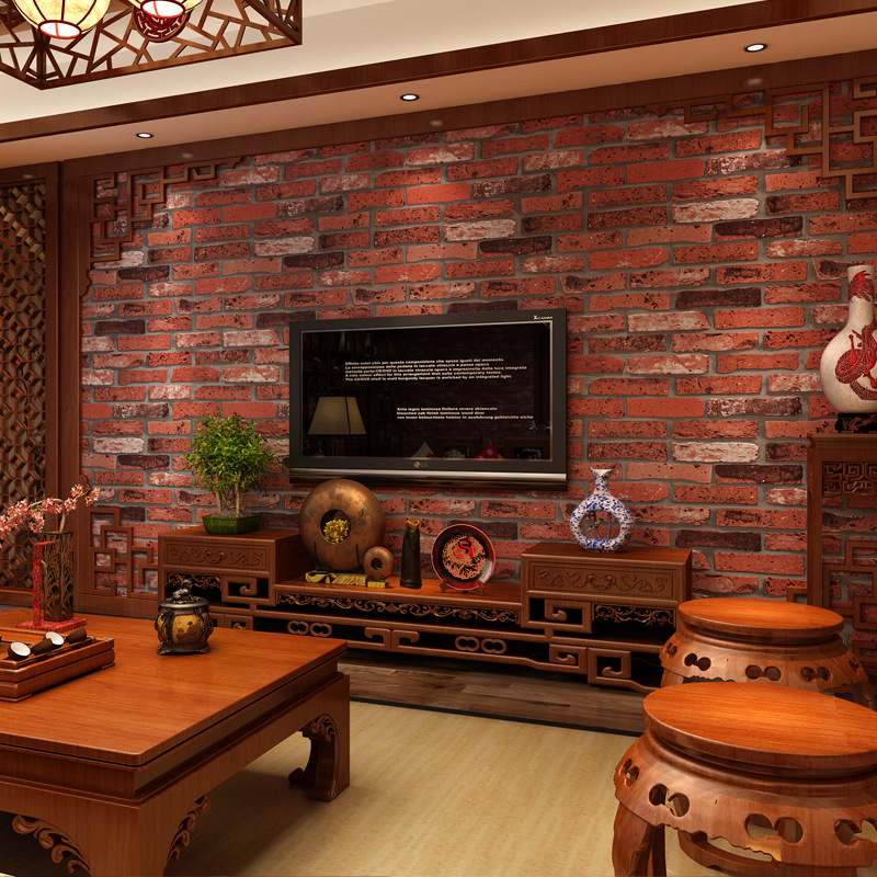 aliexpresscom buy cheng shuo wallpaper pvc retro brick wallpaper hotel decoration wallpaper wallpaper chinese style red brick factory from reliable red - Brick Hotel Decoration