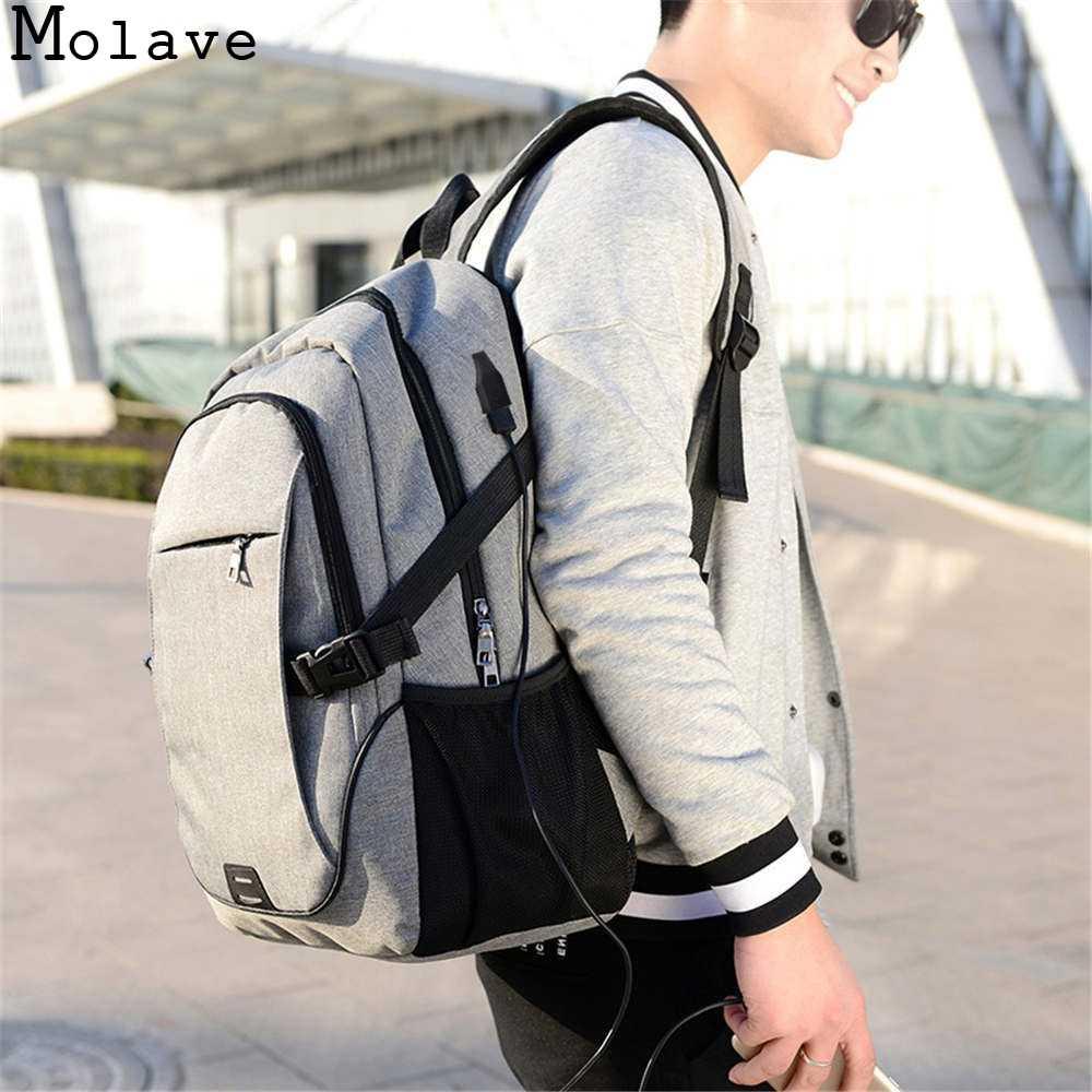 MOLAVE sacs à dos hommes tendance sac à bandoulière loisirs affaires voyage ordinateur sac d'école toile zipper solide sac à dos dec8