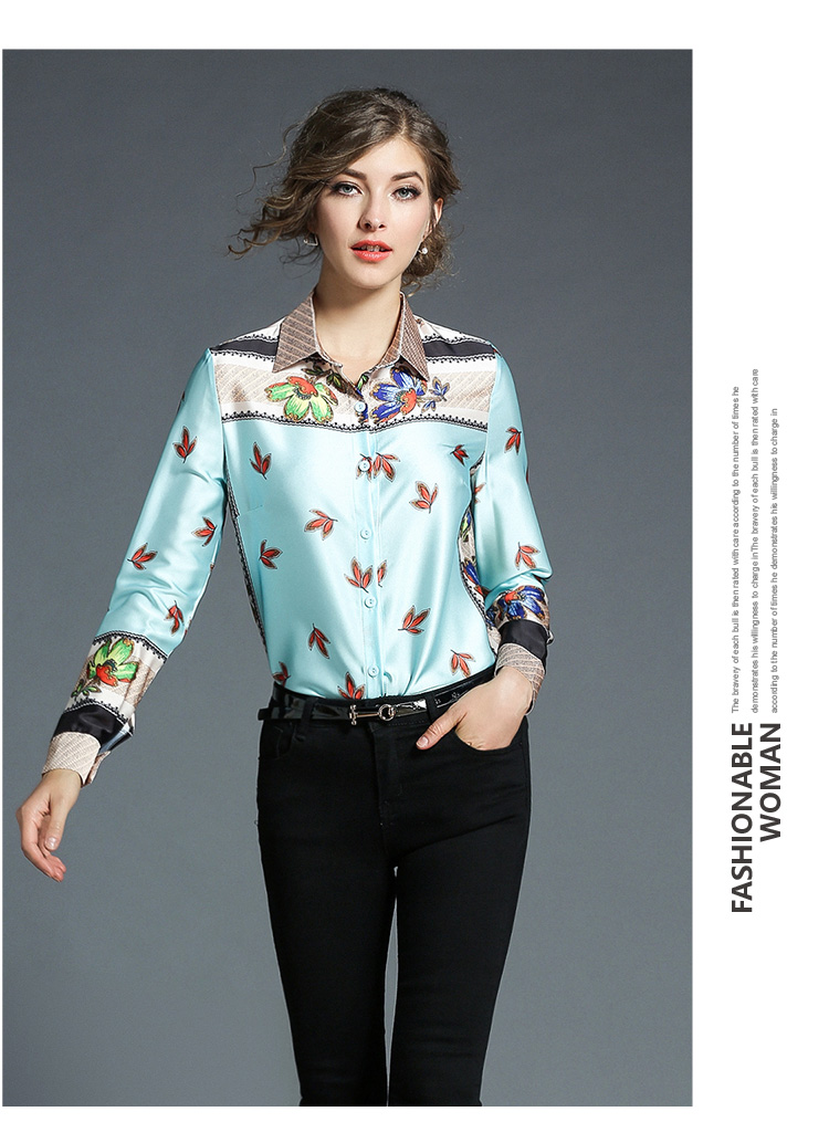 48fe9899a72 Floral Printed Blouse Shirt Women Long Sleeve Blouses Polo Collar Print  Blusa Slim Feminina Women Top 2018 Shirt Office Lady