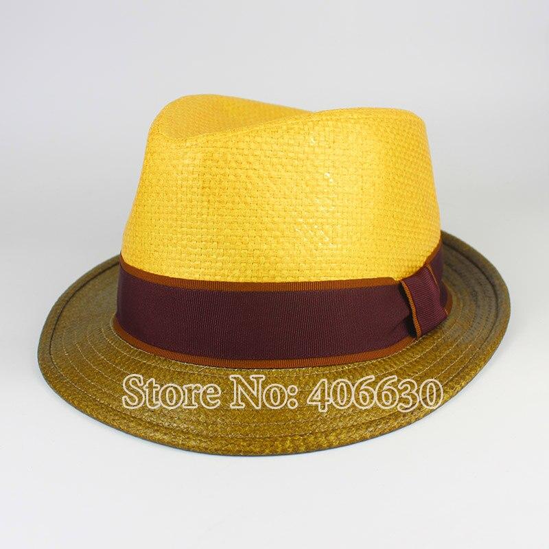 Летняя Черная Мужская рафия соломенная шляпа Федора Панама модная мягкая фетровая шляпа в джазовом стиле шапки PGFE042 - Цвет: yellow