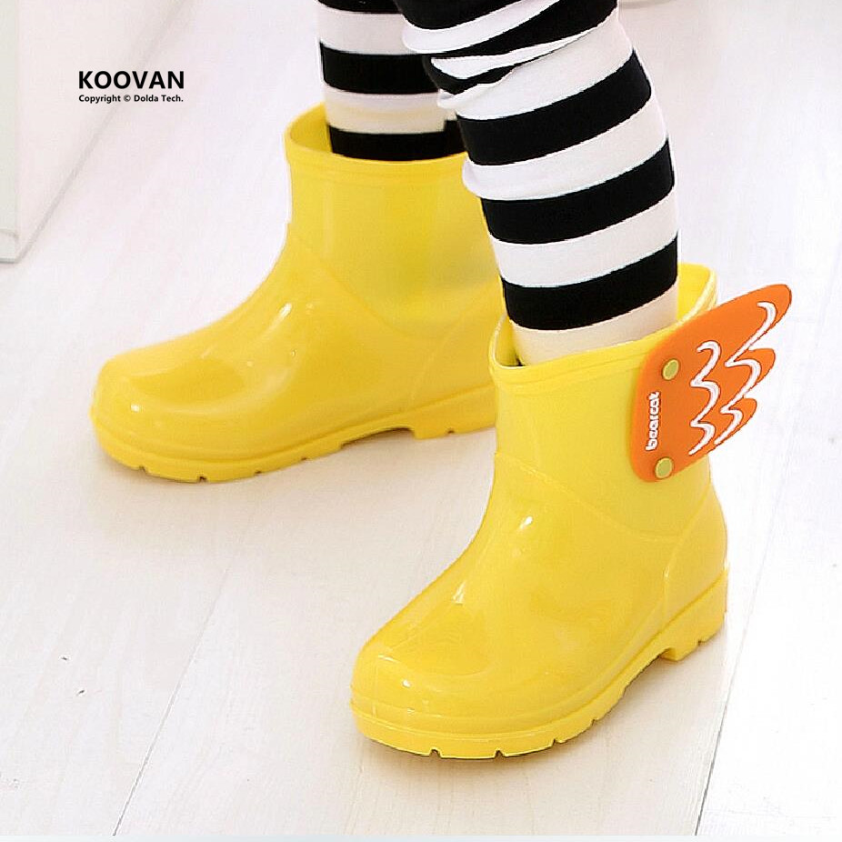 Koovan Children Rain Boots Children's Mid Cut Kids Fashion Baby Girls Boys Water Shoes Cartorn Wing Fly Rubber Boots Light Wings