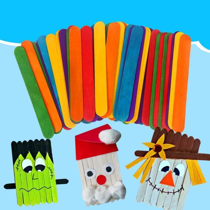 Children Handmade Wood Stick Color Popsicle Ice Cream Sticks Kindergarten Manual Creative Production Materials BS56