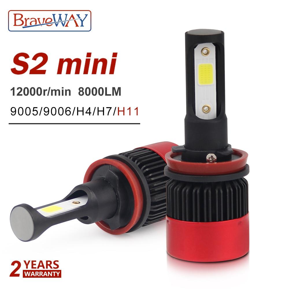 BraveWay H4 H7 H11 9005 9006 H3 H8 Led Lampe Petite Taille Phare Ampoules Led De Voiture Ampoules Auto Automobiles lampes 12 v 8000LM