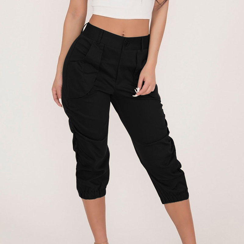 Summer   Pants   Womens Cropped Trousers Casual   Capri   Bottoms High Waist Pocket Sexy