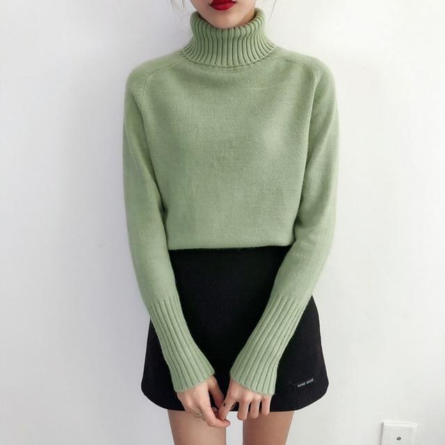 Женский кашемировый вязаный свитер с высоким воротником и длинным рукавом 2