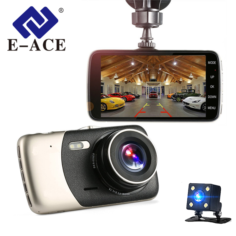 E-ACE Car DVR 4 Inch IPS Screen Auto Camera Dual Lens FHD 1080P Dash Cam Video Recorder Night Vision G-sensor Registrator e ace car dvr camera rearview mirror fhd 1080p video recorder dual lens with rear camera auto registrator dash cam night vision
