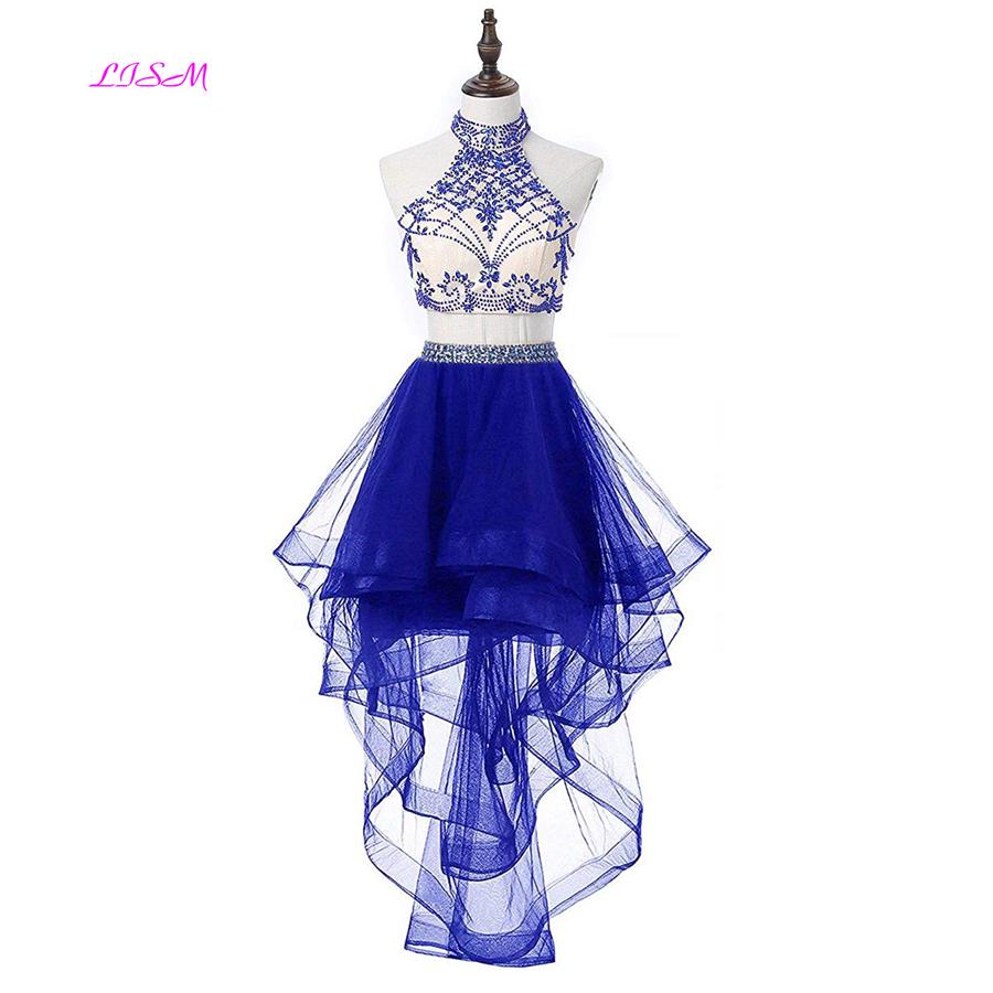 2018 New Arrival 2 Pieces Beaded Keyhole Back Homecoming Dresses Halter Crystals Prom Graduation Dresses Short Mini Bridesmaid D