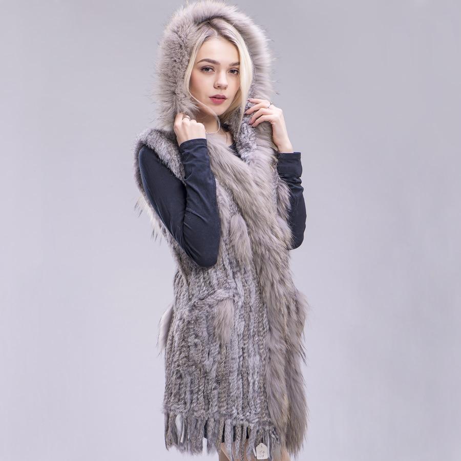 ZDFURS* Women New Genuine Rabbit Fur Vest With Hood Fashion Raccoon Fur Collar Waistcoats Warm Natural Fur Long Gilet