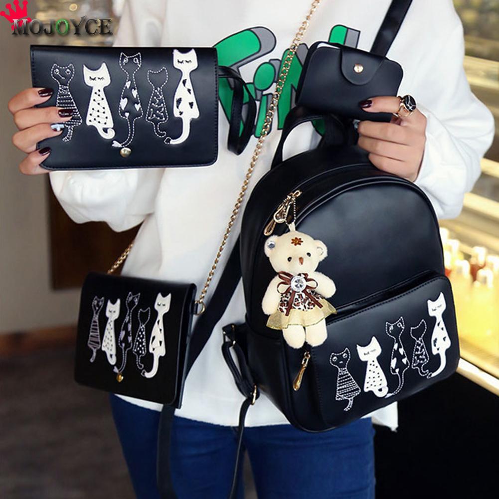 4pcs/set Backpack Women Cat Printing Pu Leather Backpacks Students School Bags For Teenage Girls Mochila Feminina Sac A Dos Mini #5