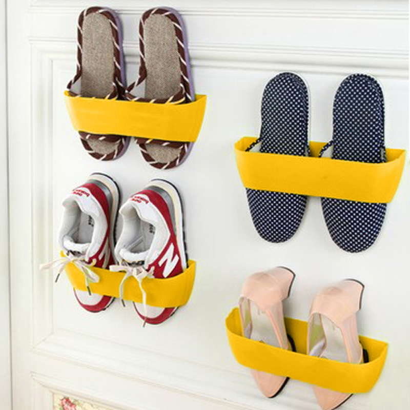 Bramd New 4 Colors Creative Adhesive Shoes Rack Wall Hanging Shoes Storage Organizer Hanger