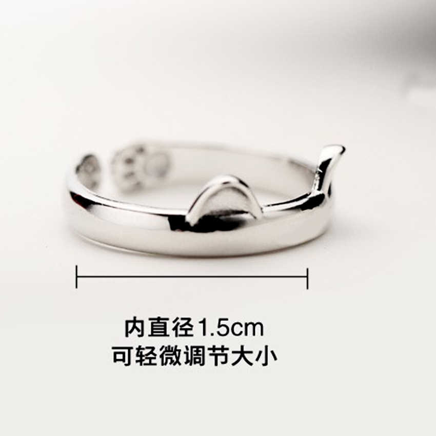 QIMING Silver Lovely Jewelry Cat Ring For Girls Women Jewelry Finger Ring For Party Birthday Gift Cats Foot Pattern Rings