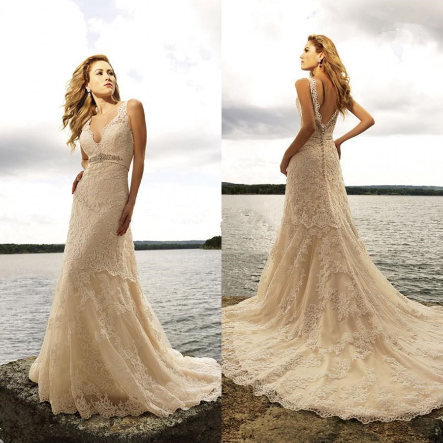2015 New Style Gorgeous Sexy V Neckline Chapel Train Mermaid