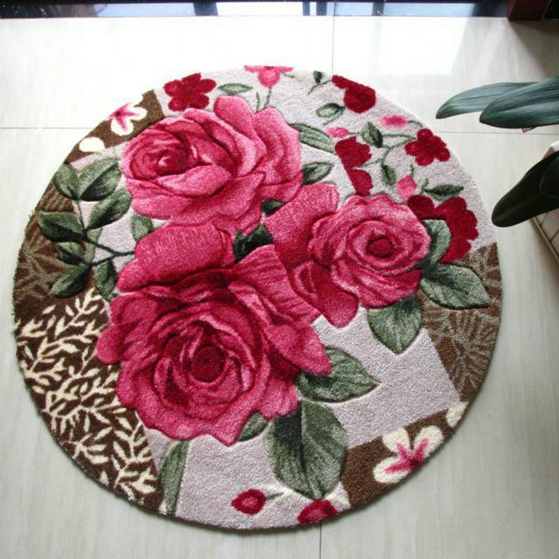 Buy round rug red rose shaggy carpet for Where to buy round rugs