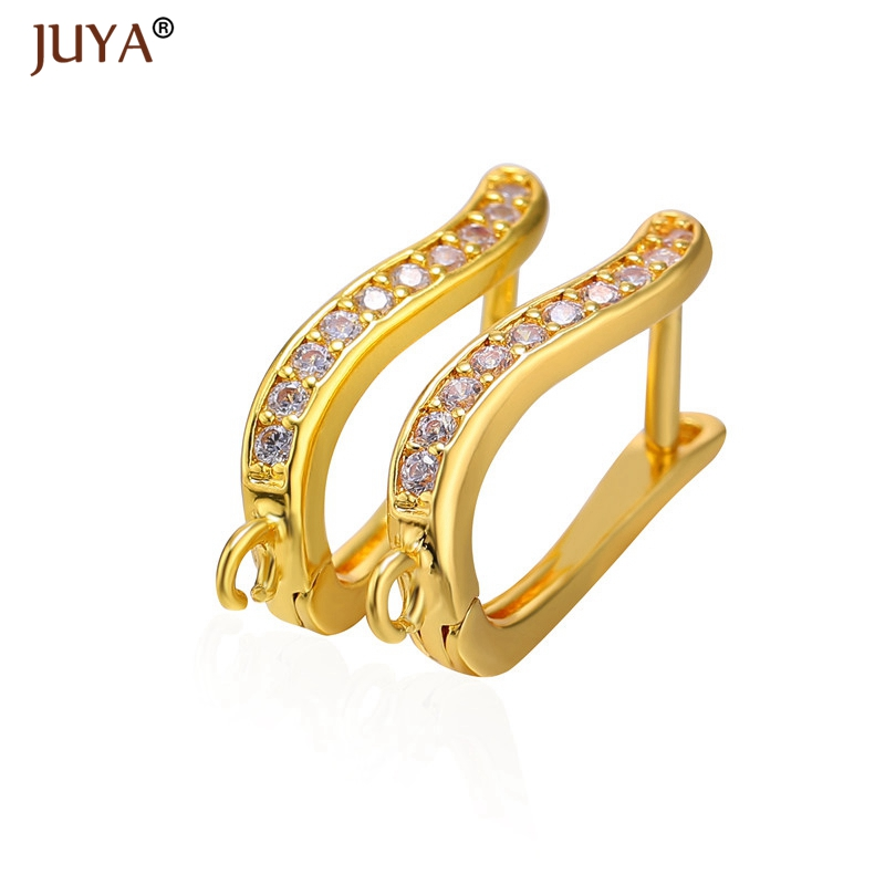 2018 New Simple Design CZ Rhinestone 4 Colors Earring Clasps Hooks DIY Earrings Components Connect tassels beads crystal charms