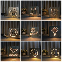 Decor Nightlight Wooden Night Light Dinosaur Owl @ E=MC Knives Bottle Lovely Decorative Customized USB Desk LED Light IY801101
