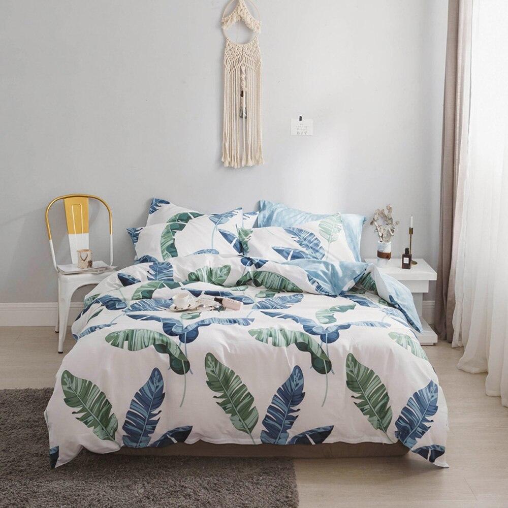 2018 สีฟ้าสีเขียวใบพิมพ์ผ้าคลุมเตียง Ru ยุโรปชุดคู่ Queen Duvet ผ้าฝ้ายปลอกหมอน-ใน ชุดเครื่องนอน จาก บ้านและสวน บน   1