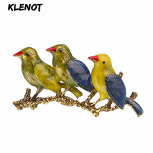 Romantic Oriole Bird Branch Brooch Pin Enamel Three Bird Mother with Kids Animal Pins and Brooches for Women Owl  Family Jewelry vintage bird tree branch brooch for women