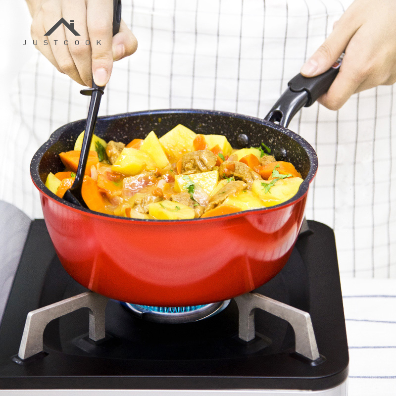 Justcook Frying Pan Non-Stick No Oil-Smoke Frying Steak Eggs <font><b>Wok</b></font> Stone Cook Pan General Use for Gas and Induction Cooker
