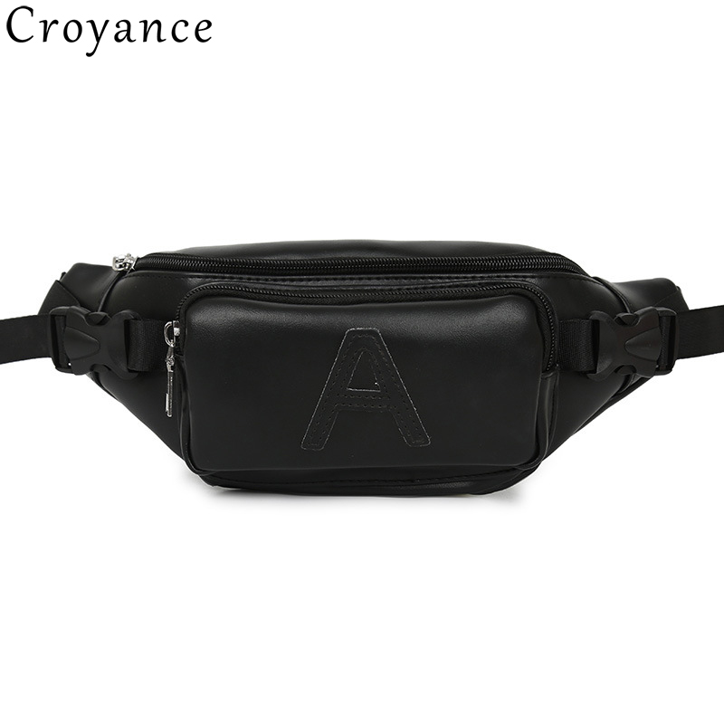 Croyance Fashion Chest Bags Unisex PU Leather Pockets Shoulder Chest Bag Waist Packs Phone Waist Bag