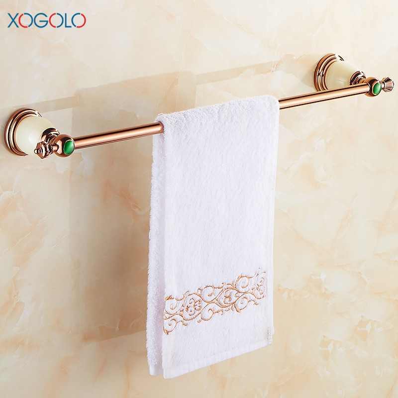 Xogolo New Arrival Copper Gold-plating Wall Mounted Fashion Towel Rack Jade Mosaic Luxury Single Towel Bars Bathroom Accessories new arrival bathroom towel rack luxury antique copper towel bars contemporary stainless steel bathroom accessories 60cm k301