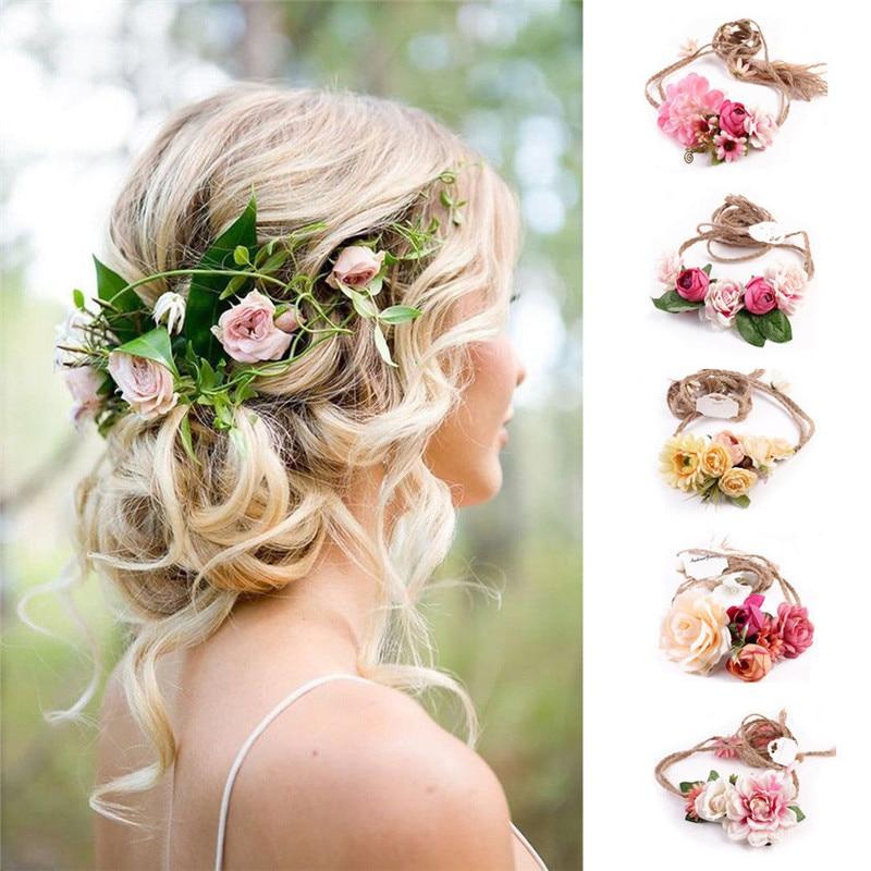 Fashion Women Boho Wedding Floral Crown Ladies Party Beach Flower Hair Garland Wreath Headwear Headband Hair Band Hair Accessory