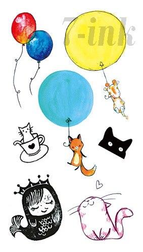 Water Transfer Fake Tattoo Cartoon Cute Mermaid Color Balloon Cat Tattoo Waterproof Temporary Tattoo For Adults Kids