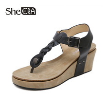 New Fashion Women Sandals Buckle Wedges Breathable Comfortable Classic Shoes She ERA