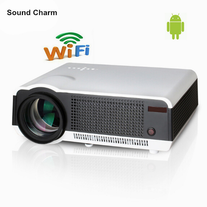 2017 New 1280x800 Smart Android 4.4 Bluetooth Wifi 5500Lumens Home Theater Digital Cinema 1080P HD Video TV LCD LED 3D Projector wzatco 5500lumen android smart wifi 1080p full hd led lcd 3d video dvbt tv projector portable multimedia home cinema beamer
