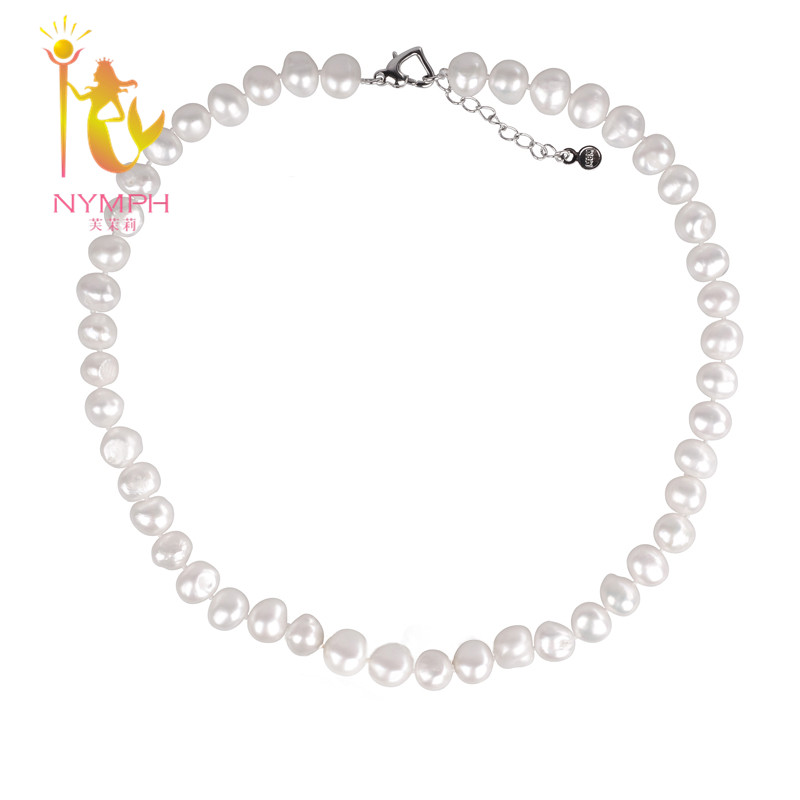 [NYMPH] Pearl Jewerly Natural Freshwater Pearl Necklace Choker Necklace White Baroque Pearl Fine Jewelry For Women[X1226] [nymph ]natural pearl necklace pearl jewelry white freshwater choker necklace trendy for wedding party fine jewelry x120