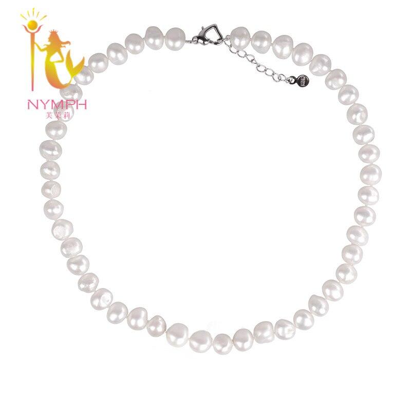 [NYMPH] Perle Jewerly Naturel D'eau Douce Perle Collier Ras Du Cou Collier Blanc Baroque Perle Fine Bijoux Pour Les Femmes [X1226]