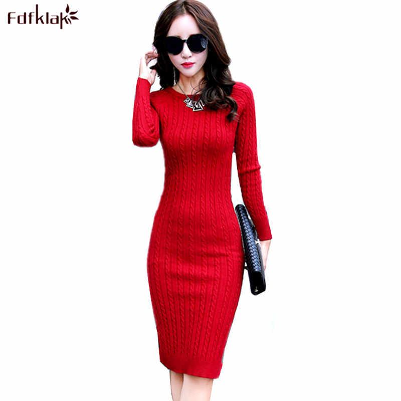 3fdee7b5df9 Fdfklak пикантные Для женщин Демисезонный платье с длинным рукавом вязаное платье  Женская одежда тонкий женский Платья