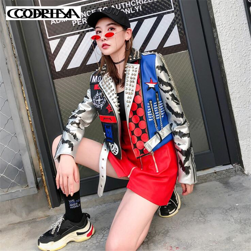 Personalized Printed rivets   Leather   jacket New Women Zipper Moto Cool streetwear Autumn winter coat Female Faux   leather   jackets