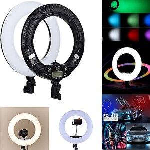 Image 4 - Yidoblo rgb app control ring light led vídeo luz beleza unha pele fotografia estúdio anel lâmpada + tripé + kit de bolsa