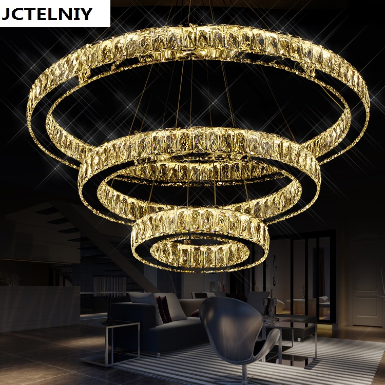 Circusy stainless steel led crystal pendant light brief modern living room lamp personalized lamps