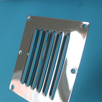 2pcs Louvred Stainless Steel Square Air Vent Grille Metal Wall Ventilation 12 5cm 11 5cm