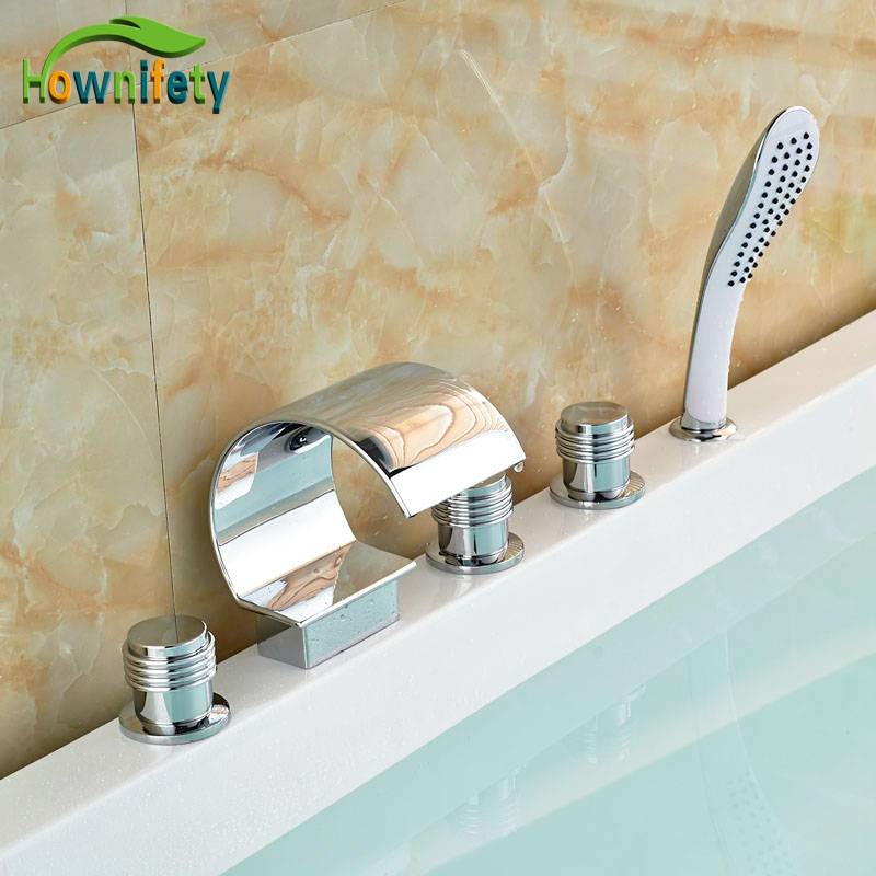 Swivel Spout Deck Mounted Bathtub Faucet Chorme Polish Tub Faucet