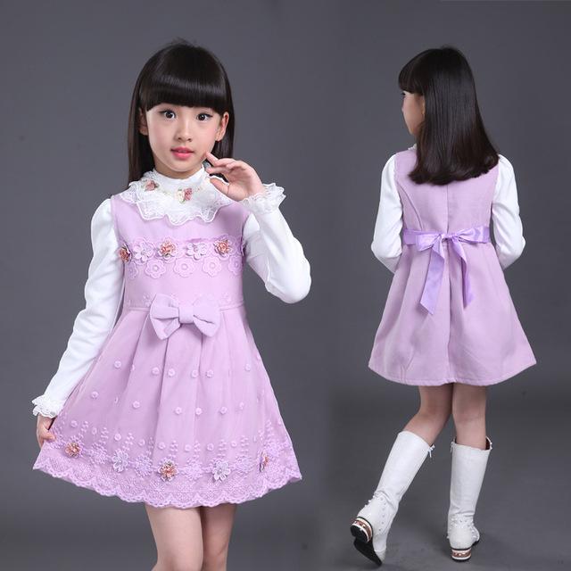 Crianças Primavera e Outono 2016 novos Coreano meninas crianças vestido sem mangas de lã colete vestido de saia princesa garotão