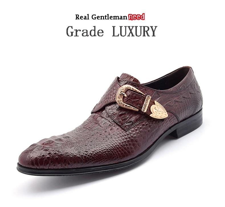 Formal Shoes Shoes Sipriks Men Burgundy Single Monk Strap Shoes Crocodile Skin Style Dress Shoes Elegant Boss Leather Shoes Formal Tuxedo Shoes Men