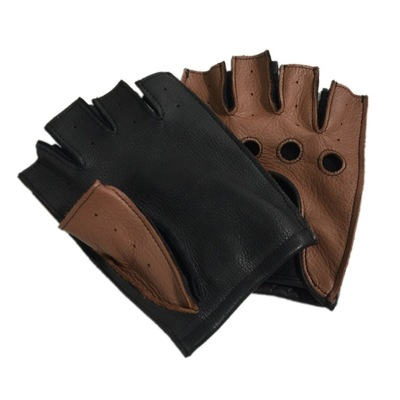 LEATHER DRIVING GLOVES UNISEX HALF FINGER CHAUFFEUR FASHION POLICE STYLE GLOVE