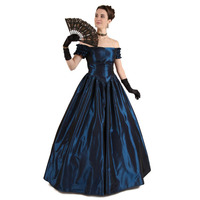 19th Century Renaissance Victorian Off Shoulder Ball Gown Vampire Halloween/Southern Belle Costume Historical Stage Clothing