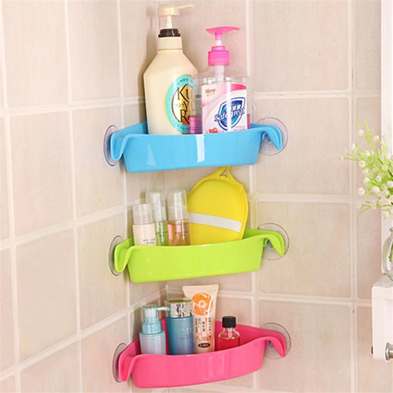 3 Farben Badezimmer Ecke Lagerung Rack Organizer Dusche Wand Regal Mit Saugnapf Hause Ecke Küche Bad Regale Heimwerker