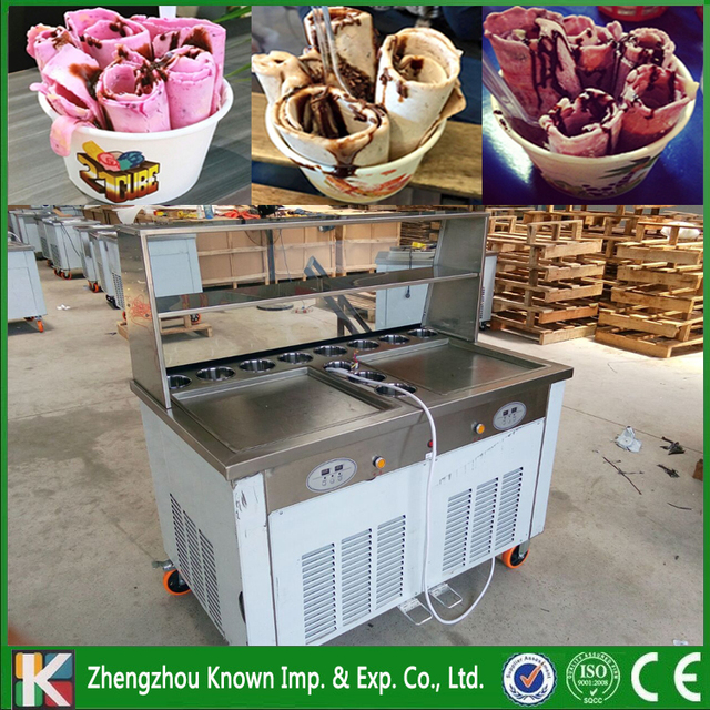 Promotion! Double big square pans with 11 topping tanks of fried ice cream roll machine (Free shipping by sea)