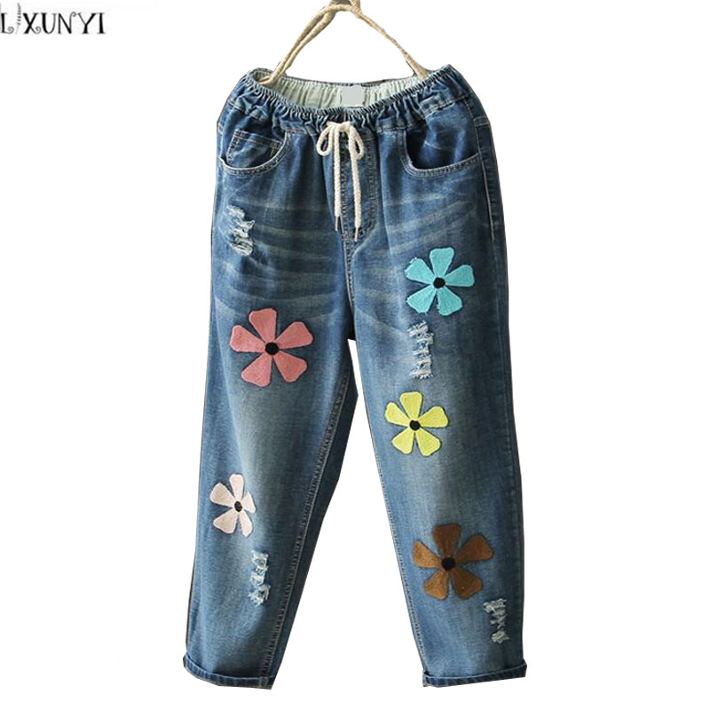 Capri Pants Ladies New Arrival Womens jeans With Embroidery Hole Printed Pants Women Plus Size Summer Elastic Waist  jeans Loose free shipping skkt570 16e new products good quality