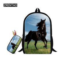 beb13a34022 Mode Kinderen School Tassen Sets voor Tienermeisjes Paard Schooltassen Kids  Jongens Boekentas 3D Cartoon Dier Rugzak